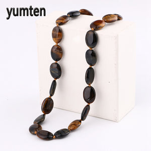 With 8mm Natural Stone Hamsa Pendant Diy Ethnic Jewelry Ethnic Ceramic Necklace For Men Necklace Gift Tiger Eye Stone
