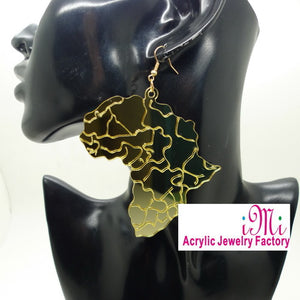 Woman's Fashion Party Accessories Mirror Acrylic Laser carved Golden Africa Map Hiphop Dangle Earrings