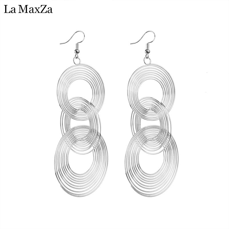 Women Circle Hoop Tassel Earring Geometric Gold&Silver Color Pendant Minimalist Alloy Pendant Earrings Fashion Jewelry