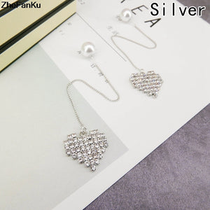 Women Trendy Earrings Simulated Pearl Rhinestone earrings Jewelry Lovely Heart Love Design Long Tassel Earrings Cute Gift