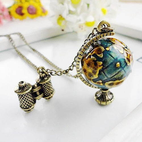 Women's Vintage Globe Planet Earth World Map Ball Binocle Pendant Long Necklace