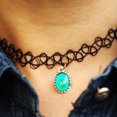 Womens Co Color Change Charm Necklace Fancy Elastic Choker Mood Stone Necklace