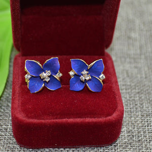 New Fashion Clover Flower Shaped Rhinestone Stud Earrings for Women Ladies Girls Jewelry Purple 2018 One Pairs