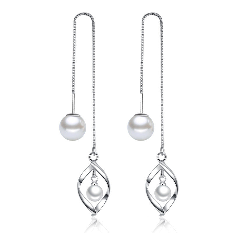 925 Sterling Silver Geometric Twist Pearls Drop Earrings For Women Gif Sterling-silver-jewelry Boucle d'oreille VES6198