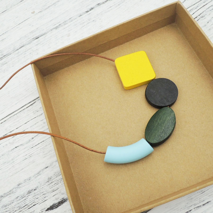 YELLOW wood geometric necklace minimalist statement CURVE OVAL SQUARE light weight abstract leather cord NW088