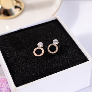 2018 Fashion Black Roman Numerals Stud Earring Woman Rose Gold Color Titanium Steel Jewelry Girl Birthd Gift Not Fade