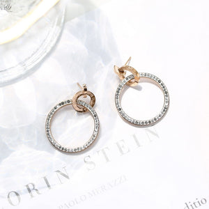 2018 Fashion Roman Numeral Crystal Stud Earring Woman Rose Gold Color Titanium Steel Jewelry Girl Birthd Gift Not Fade