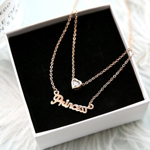 2018 New Arrival Rose Gold Color Fashion Double Layers Heart Pendant Necklace Titanium Steel Woman Jewelry Gift Not Fade