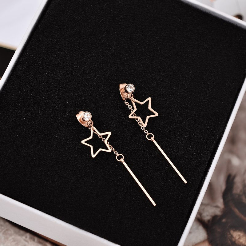 Vintage Star Taeesl Stud Earring Titanium Steel Rose Gold Color Jewelry Woman Girl Fashion Accessories Gift Wholesale