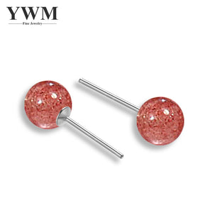 YWM 925 Sterling Silver Natural Strawberry Crystal Earrings Small Fresh Earrings Student Fashion Stud Earrings Jewelry for Women