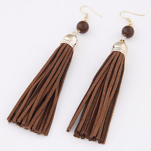 Fashion Fringe Earrings Ladies Imitation Leather Brown Velveteen Cord Tassel Gold-color 120x12mm Long Dangle Drop Earring