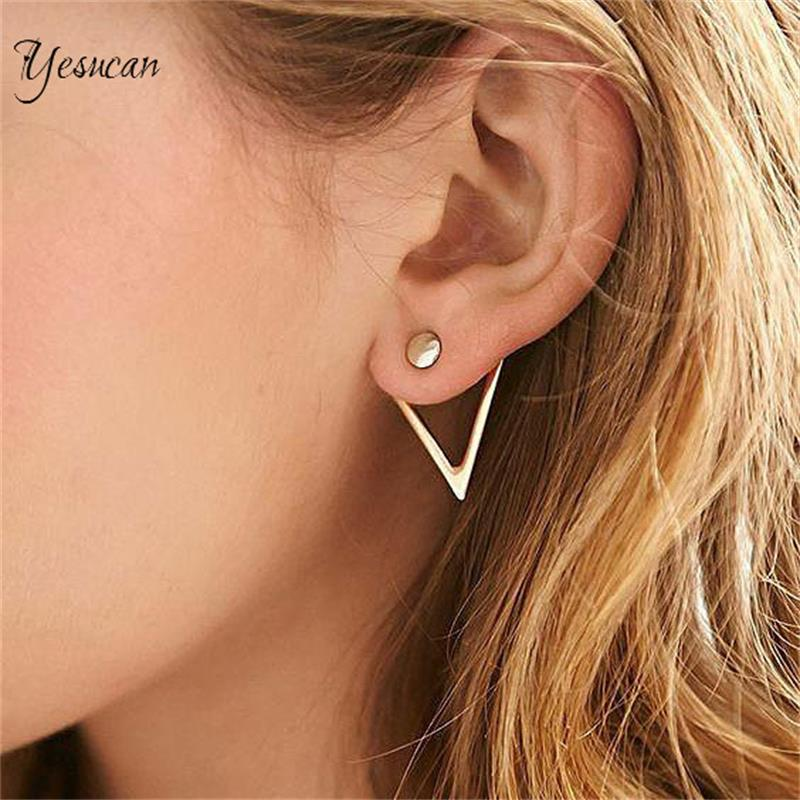 Lady Simple Circle Front Back Double Sided Stud Earrings Gold Color Triangle Geometric Ear Jewelry Ear Piercing Earing