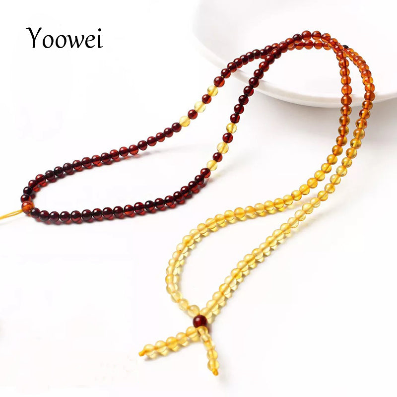 3mm 55cm Amber Chain Necklace for Women Genuine Round Tiny Diy Bead 100% Real Natural Baltic Amber Jewelry Wholesale