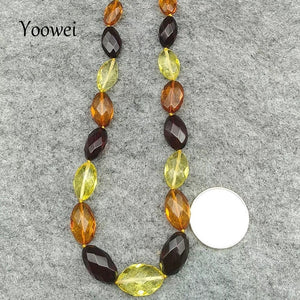 50cm 17g Amber Necklace for Women Faceted Oval Beads Luxurious Party Anniversary Baltic Natural Amber Jewelry Wholesale