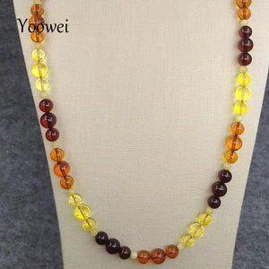 60cm 18.8g Natural Amber Necklace for Unisex Round Bead Mom Anniversary Birthd Gift diy Baltic Amber Jewelry Wholesale