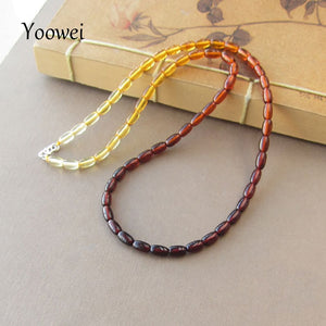 Amber Necklace Wholesale Seed Bead Gemstone 100% Genuine Poland Imported Silver Clasp Handmade Bijoux Women Amber Jewelry