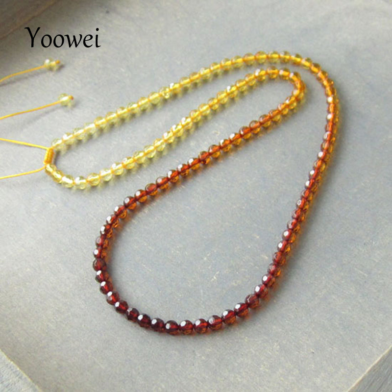 Faceted Amber Necklace Jewelry Wholesale Genuine Baltic Natural Amber Beads Adjustable Chain Necklace diy Women Jewellery