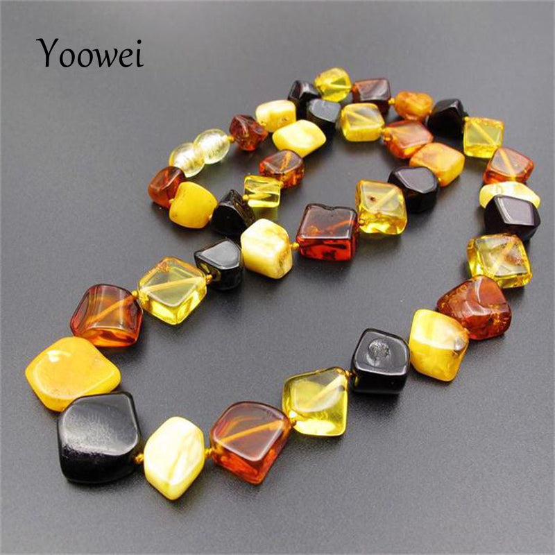 Natural Amber Necklaces for Women Rhombus Irregular Beaded Collar New Year Engagement Gifts Healing Baltic Amber Jewelry