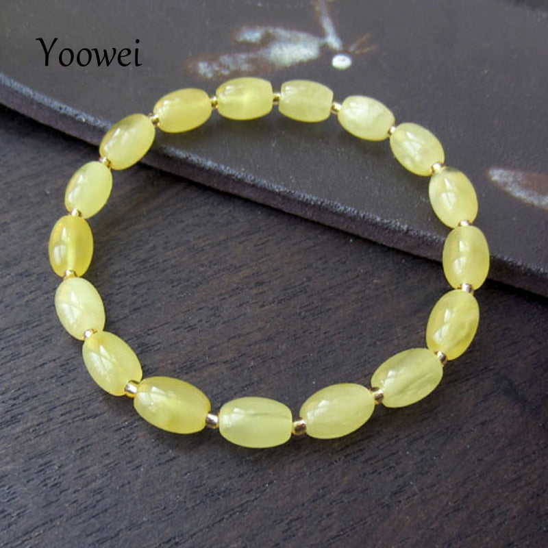Natural Baltic Amber Stretch Bracelet for Party Wedding Gemstone Beads Elastic Jewelry Gift Polished Honey Amber Bracelet