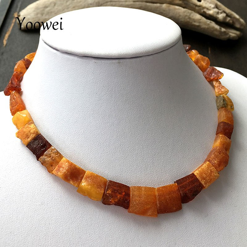 Natural Raw Amber Necklace Irregular Unpolished Beads 41cm Short European Styles Baltic Amber Necklace Jewelry Wholesale