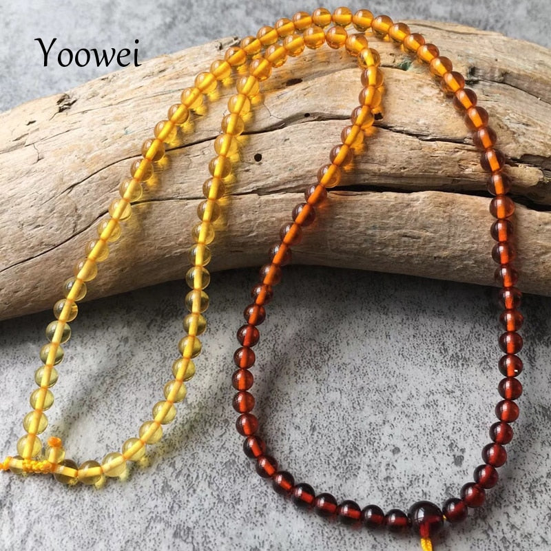 New 4mm Rainbow Amber Necklace for Women 46cm Diy Genuine Round Beads 100% Real Natural Baltic Amber Jewelry Wholesale