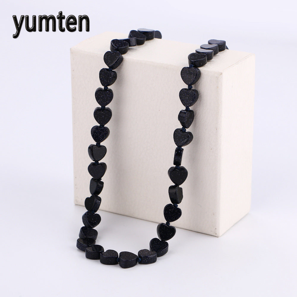 Blue Sandstone Beads Women Statement Necklace Ladies Heart Necklaces Charms Crystal Gemstone Fine Jewelry Sieraden Zakjes