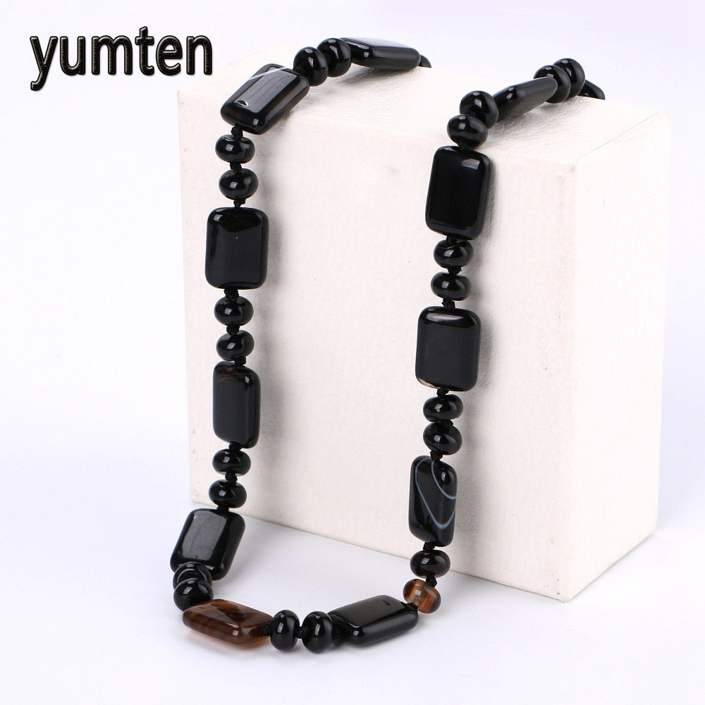 Nature Black Agate Women Short Necklace For Ladies Statement Fine Jewelry Exquisite Crystal Collane Donna Pietre Dure