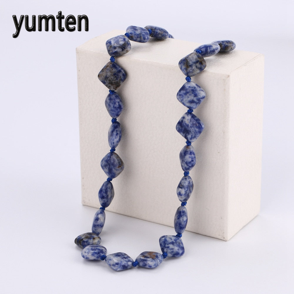 Nature Blue-Veinstone Statement Necklace Charms Women Crystal Stone Jewellery Gemstones Beads Collares De Piedras Gifts
