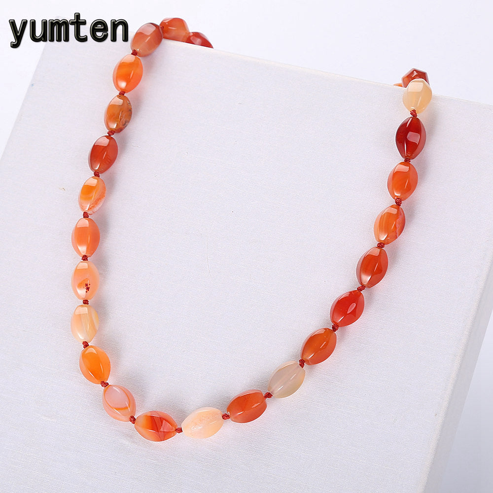 Red Agate Necklace Ethnic Women Naszyjnik Bead Chains Jewelry Natural Stone Ornaments Female Short Chain Geometric Party