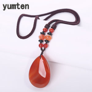 Red Pendant Necklace Agate Gem Chain Women Casual Jewellerynatural Stone Bijoux Geometric Party Accessories Beaded Chains