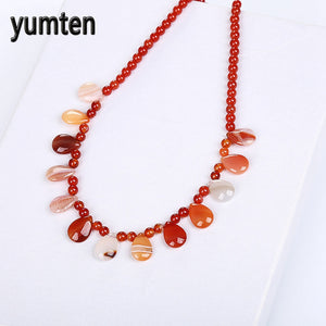 Women Necklace Natural Red Agate Crystal Power Stone Popular Bead Chain Fashion Water Drops Retro Steampunk Sailor Moon