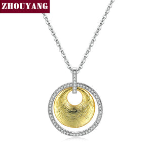 Necklace For Women Cubic Zirconia Double-Layered Round Pendant Gold Color and Silver Color Fashion Jewelry N015
