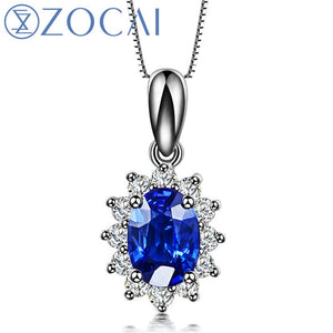18K White Gold 0.5 CT Certified Sri L Sapphire with 0.2 CT Diamond Pendant 925 Silver Chain Necklace D00119