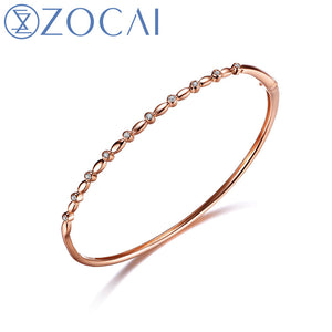 Real Natural 0.1CT Diamond Certified I-J / SI in 18K Rose Gold (AU750) Bangles Z00212
