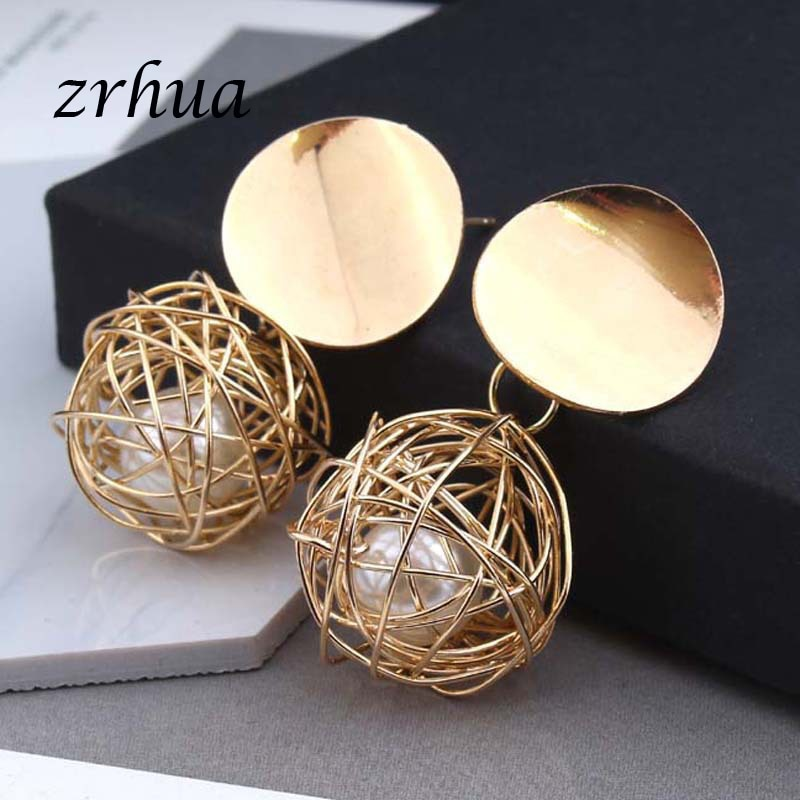 New 2018 Fashion Jewelry Gold Color Modern Hollow Round Circle Design Women Drop Earrings Best Gift for Wedding Party