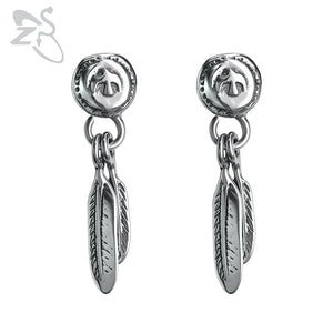 1 Pair Stainless Steel Feather Earrings for Women Vintage Punk Style Ear Stud Jewelry Accessories Gifts for Men 2018