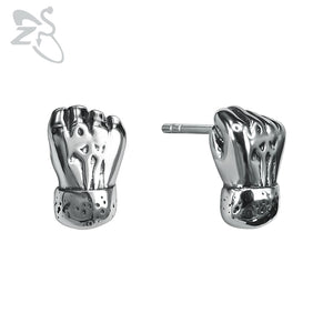 Punk Style Stud Earrings Hop Small Fists Shape Earring Fashion Stainless Steel Jewelry Gifts for Men Rock Roll Earings