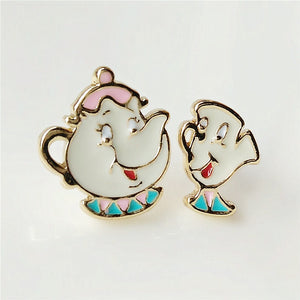 and the beast Mrs Teapot teacup asymmetry of individual character vogue small earrings stud earrings female model