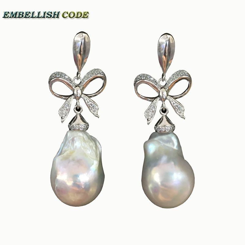 baroque pearls Bowknot style noble dangle earrings white color flame ball tissue nucleated pearl 925 silver for women