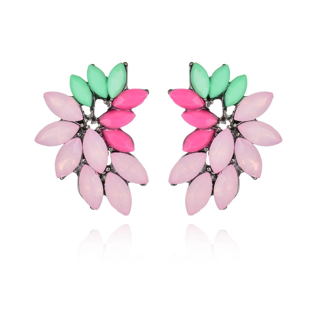 candy color stone street fashion hyperbole elegant women Leaf Feather crystal Stud Earring Women