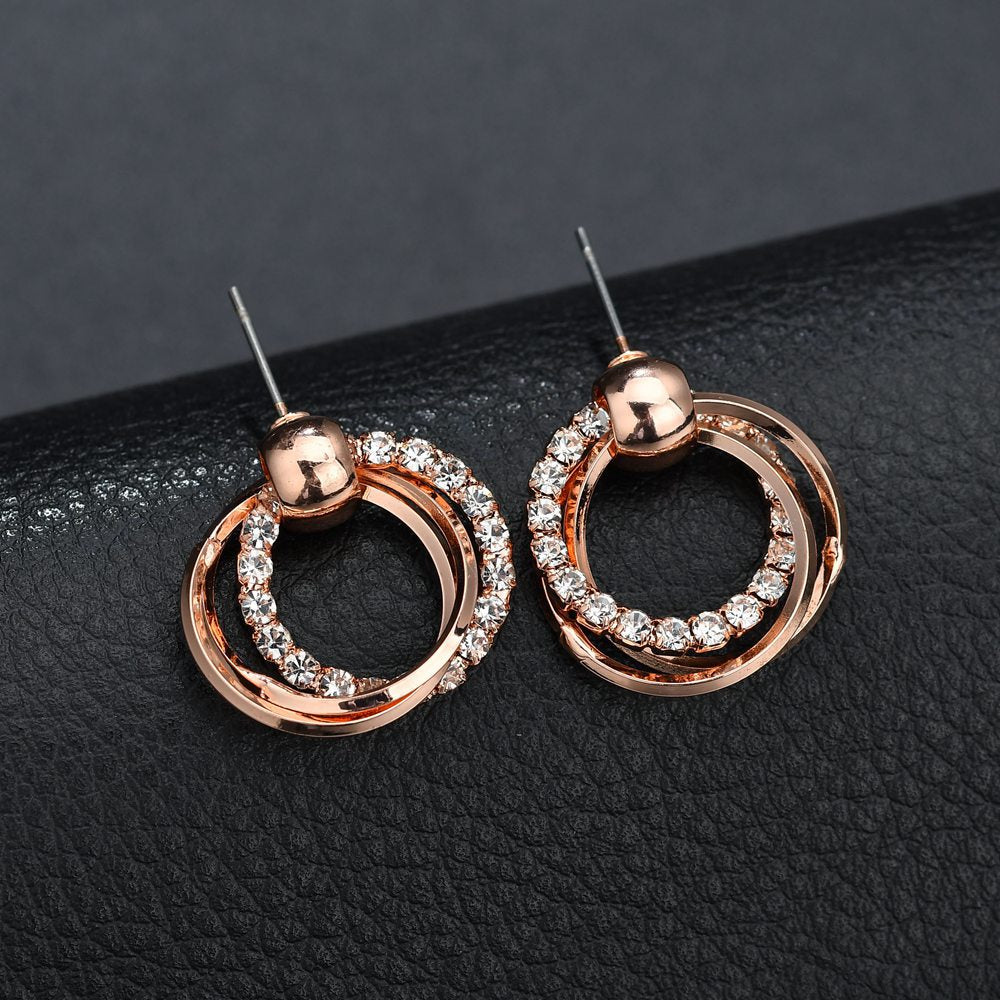elegant girl light luxury shining rhinestone rose gold color multi-layers Round Circle sexy Stud Earring Women Jewelry