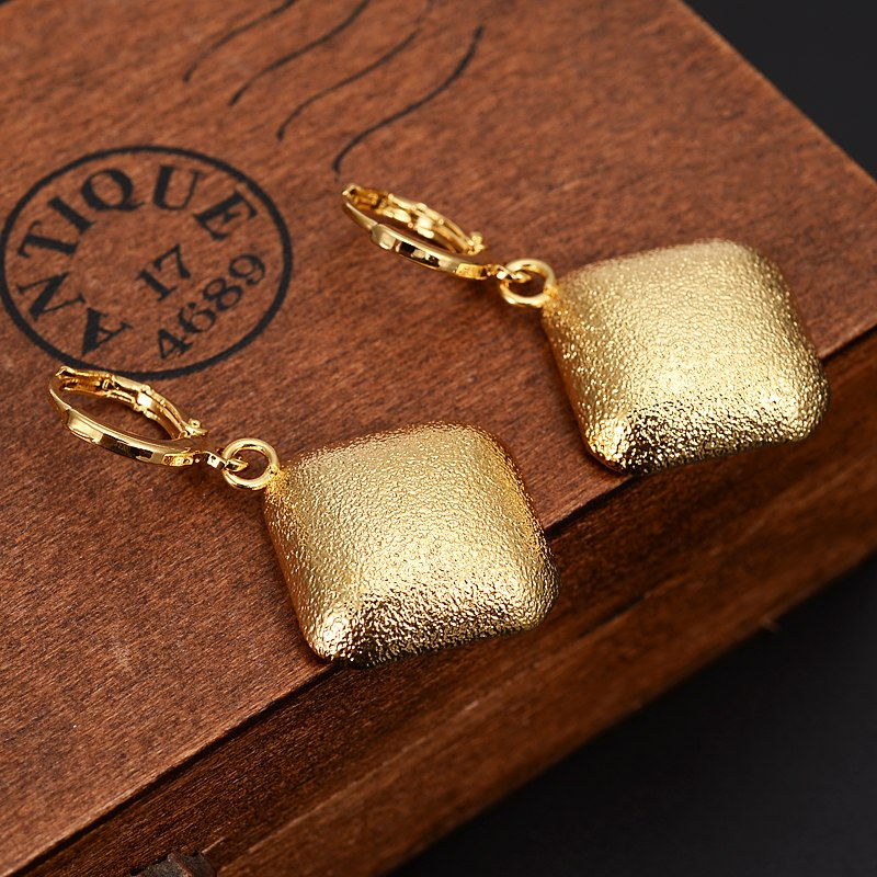 fashion big Gold Africa square Dubai geometry charms Jewelry Wome girls wedding bridal party Earrings Christmas gifts