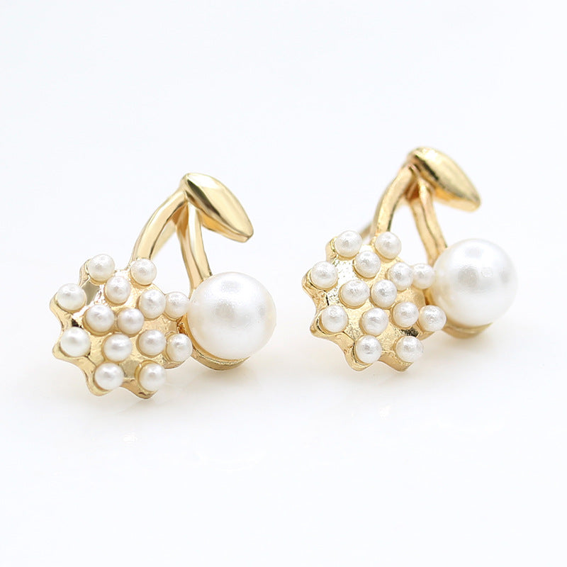 fashion earrings exquisite pearl patchwork round ball gentlewomen cherry style stud earring