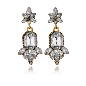 fashion hyperbole Luxurious Crystal water drop pattern big crystal Stud Earring Women