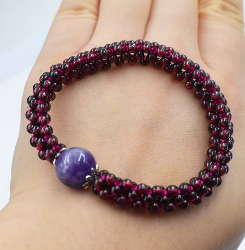 garnet round red and amethyst pink quartz bracelet 7.5inch wholesale beads nature handcraft