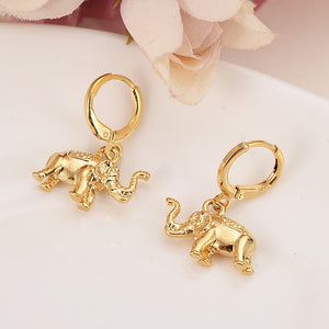 gold Fashion cute animal elephant drop Earrings Gift for Girls Friend Kids Lady earring party earring wedding bridal jewelry