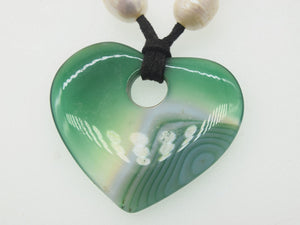 green veins heart agate 18inch pendant 40*45mm white pearl necklace wholesale beads nature