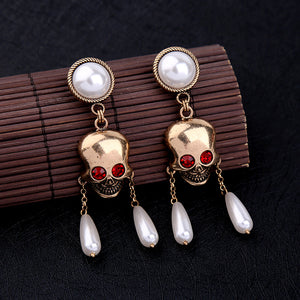 Retro earring Pearls round Skull pendant earrings women act the role ofing is tasted