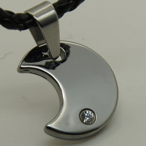men/women jewelry moon clear cz hi-tech scratch proof tungsten pendant necklace