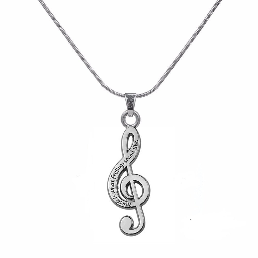 Art Attack Burnished Silver Plated Treble Clef Music Is What Feelings Sound Like music Lover Gift women chain necklace